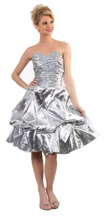 Short Knee Length Shimmery Metallic Silver Strapless Prom Dress Gown | DiscountDressShop.com 1080CD