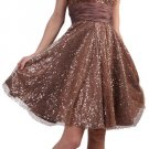 Brown Cocktail Dress Short Knee Length Brown Prom Dress Empire Waist | DiscountDressShop.com 1103CD