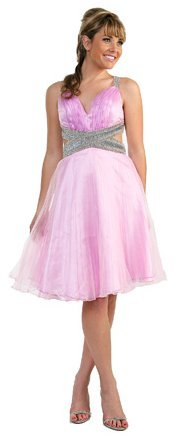 Short Knee Length Satin Party Blue Pink Prom Dress Silver Braiding | DiscountDressShop.com 166CD