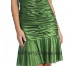 Olive Green Cocktail Dress Satin Low V Neckline Ruffled Skirt Olive | DiscountDressShop.com 2109NX
