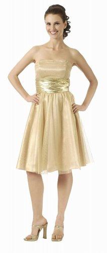 Strapless Metallic Gold or Silver Cocktail Dress Prom Empire Waist | DiscountDressShop.com 2834PO