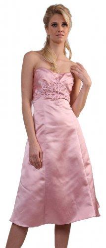 Bridesmaid Dress Pink Strapless Satin Tea Length Prom Gown Pink | DiscountDressShop.com 5004S-CD