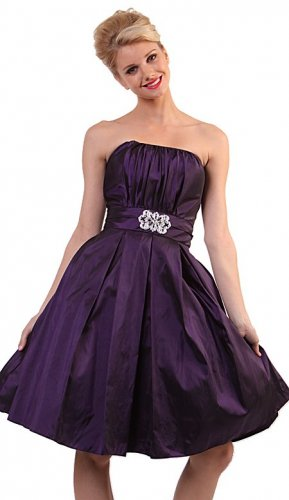 Purple Cocktail Bubble Dress Strapless Purple Prom Taffeta Gown | DiscountDressShop.com 5039CD