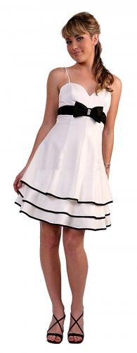 White/Black Prom Dress Short Knee Length Black/White Cocktail Dress | DiscountDressShop.com 5047CD