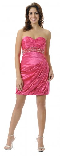 Cheap Sexy Strapless Fuchsia Cocktail Dress Prom Fuchsia Formal Gown | DiscountDressShop.com 5684PO