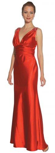 Discount Red Formal Dress Long V Neck With Shoulder Tassles Red Gown | DiscountDressShop.com 2126JU