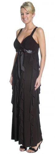 Long Black Dress With Mini Ruffles V Neck Black Formal Dress Gown | DiscountDressShop.com 2161JU