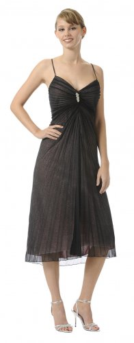 Tea Length Black/Gold Formal Dress Sweetheart Neckline Metallic Knit | DiscountDressShop.com 2924PO
