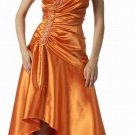 Orange Formal Dress Tea Length Orange Bridesmaid Prom Cocktail Gown | DiscountDressShop.com 5624PO