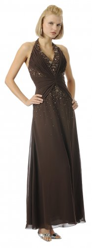 Brown Chiffon Dress Halter Brown Dress Prom Bridesmaid cocktail Gown | DiscountDressShop.com 5698PO