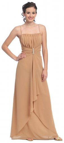 Taupe Formal Dress Prom Dress Taupe Bridesmaid Gown Spaghetti Strap | DiscountDressShop.com 806SB