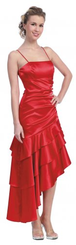 Red Formal Dress Spaghetti Strap Prom Red Military Ball Gown Cheap | DiscountDressShop.com 818SB