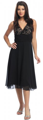 Black Graduation Dress Formal Empire Waist Dress Black Prom Dress | DiscountDressShop.com 792NX