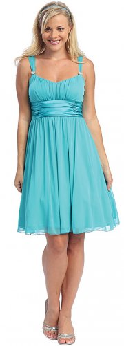 Cheap Turquoise Cocktail Dress Knee Length Turquoise Dress Prom Gown | DiscountDressShop.com 2007S-C