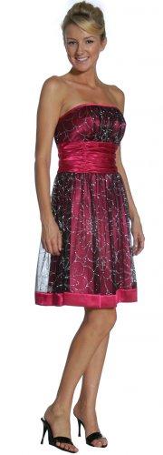 Strapless Short Fuchsia Formal Dress Mesh Satin Valentine Dress | DiscountDressShop.com 2170JU