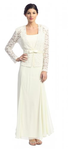 Cheap Ivory Mother of the Bride/Groom Dress With Jacket Formal Dress | DiscountDressShop.com 2124NX