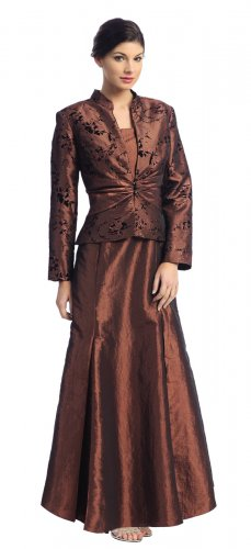 Cocoa Mother of the Bride/Groom Dress With Jacket Wedding Gown Dress | DiscountDressShop.com 2131NX