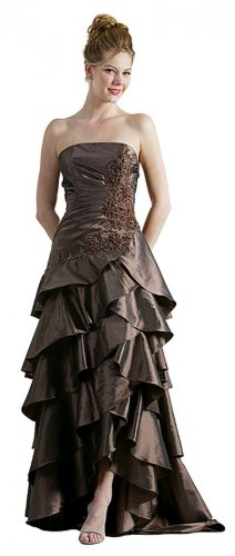 Cheap Brown Formal Pageant Gown Prom Dress Strapless Embroider Gown | DiscountDressShop.com 0811CD