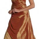 Rust Gold Pageant Gown Strapless Double Layer Formal Prom Dress Gold | DiscountDressShop.com 1047JU