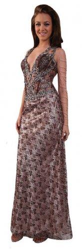 Sexy Elegant Brown Bridesmaid Dress Deep V Neckline Formal Pageant | DiscountDressShop.com 1111CD