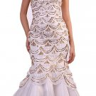 Ivory Gold Formal Prom Mermaid Dress Strapless | DiscountDressShop.com 173CD