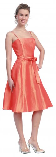 Cheap Orange Cocktail Dress Spaghetti Strap Orange Prom Dress Gown | DiscountDressShop.com 608SB