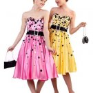 Strapless Yellow Cocktail Tea Knee Length Pink Polk Dot Prom Dress | DiscountDressShop.com 1092CD