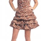 Strapless Light Brown Polka Dot Cocktail Bubble Dress Brown Dress | DiscountDressShop.com 2104NX
