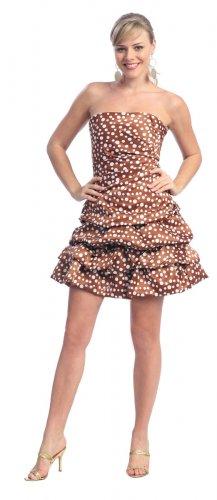 Strapless Light Brown Polka Dot Cocktail Bubble Dress Brown Dress | DiscountDressShop.com 2104NX