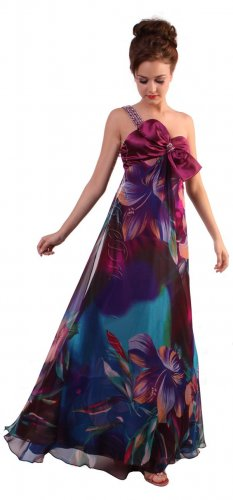 Cheap Beautiful One Shoulder Flower Prom Print Formal Dress With Bow | DiscountDressShop.com 170CD