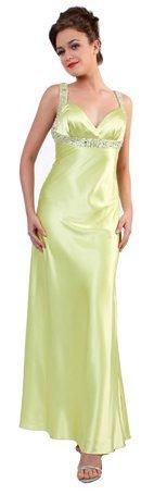 Green Formal Satin Gown Dress Long Sweetheart Neckline Bead Strap   DiscountDressShop.com 0124CD