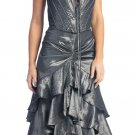 Metallic Silver Formal Dress Strapless Silver Prom Dress Bridesmaid | DiscountDressShop.com 1077NX