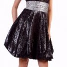 Shimmery Black Prom Dress Short Bubble Cocktail Dress Empire Waist | DiscountDressShop.com 1093CD