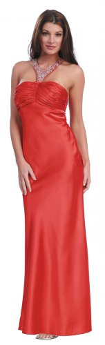 Elegant Cinnamon Prom Dress Long Rhinestone Beaded Neckline | DiscountDressShop.com 1098NX