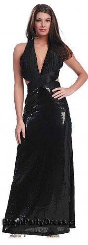 Black Sequin Prom Dress Halter Deep V Neckline Black Evening Gown   DiscountDressShop.com 1109NX