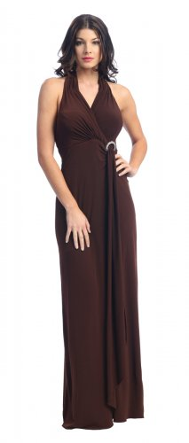 Brown Sexy Halter Formal Dress Cheap Brown Cocktail Prom Party Dress | DiscountDressShop.com 2142NX
