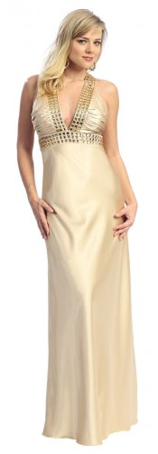Elegant Deep V Neckline Sexy Gold Prom Cocktail Dress Rhinestones | DiscountDressShop.com 2145NX