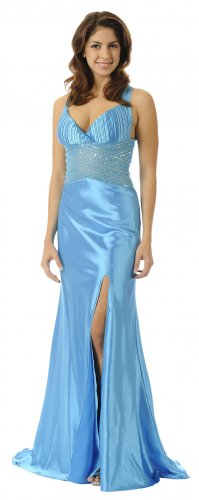 Long Turquoise Prom Dress Open Slit Formal Pageant Gown Floor Length | DiscountDressShop.com 5640PO