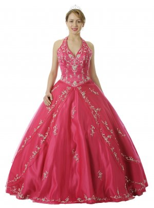 Fuchsia Quinceanera Dress Satin Halter Fuchsia Princess Dress Gown | DiscountDressShop.com 5726QPO