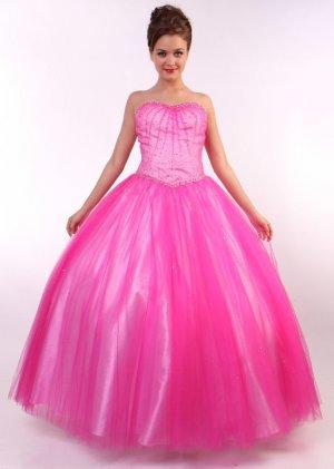Hot Pink Princess Gown Hot Pink Quinceanera Dresses Pink Strapless | DiscountDressShop.com C55CD
