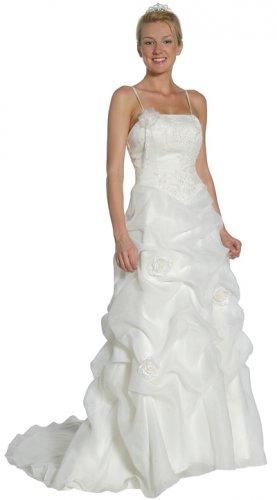 White Wedding Dress With Removable Straps Ivory Wedding Gown | DiscountDressShop.com 1065JU