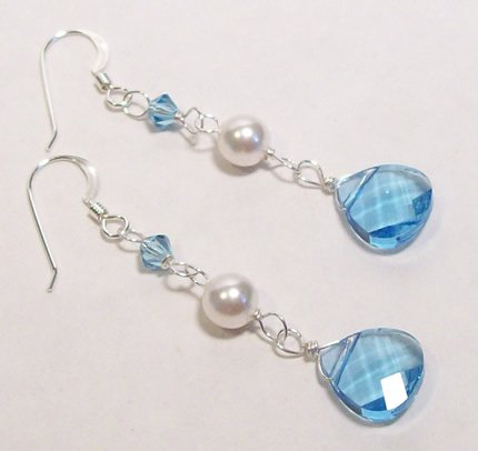 Aquamarine Briolette Teardrop and White Pearl Drop Wedding Jewelry Earrings