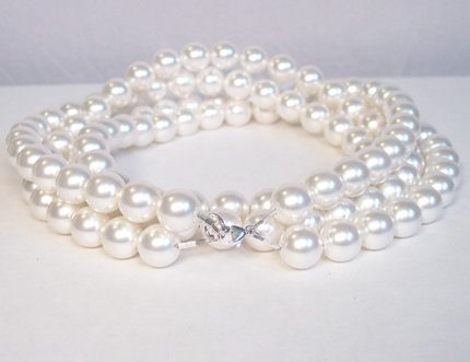 Double Strand Chunky Pearl Necklace with Sterling Silver Lobster Clasp 24 inches long