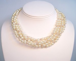 Five Strand Ivory Pearl and Silk (lt peach) Crystal Necklace with Extender Chain