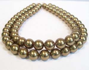 Antique Brass Double Strand Chunky Pearl Necklace - Perfect for weddings or casual