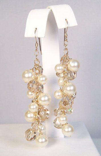 Harlow Gold Filled Earrings with Ivory Pearls and Golden Shadow Crystals - Wedding earring jewelry