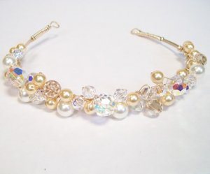 Gold Filled Tiara Hair Band with Ivory & Gold Pearls & Golden Shadow,  Clear AB Swarovski Crystals