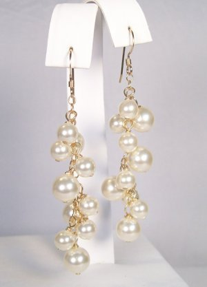 Gold Filled Earrings with Ivory Swarovski Clustered Pearls - Wedding Earrings - Bridal