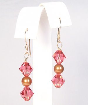Indian Pnk Crystal and Copper Pearl Earrings - Perfect for a summer wedding jewelry selection