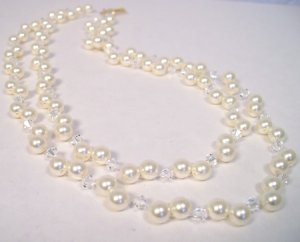 Double Strand Illusion Pearl & Crystal Necklace
